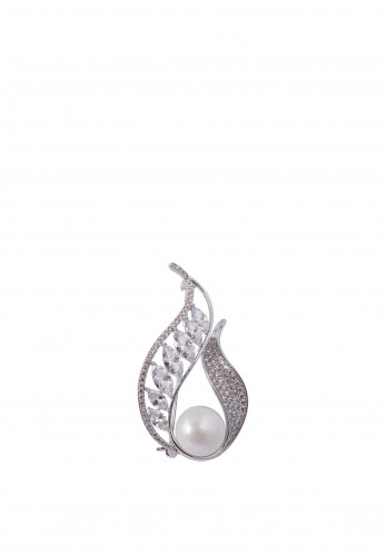 Knight & Day Alma Pearl Brooch, Silver