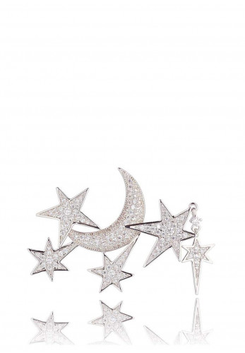 Knight & Day Moon & Stars Brooch, Silver