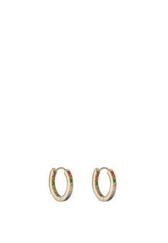 Knight & Day Stella Coloured Crystal Encrusted Hoop, Gold