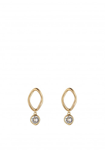 Knight & Day Sabina Golden Crystal Drop Earrings, Gold