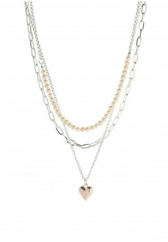 Knight & Day Abigail Chloe Layered Necklace, Silver, Rose Gold & Pearl