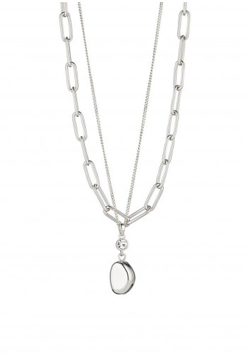 Knight & Day Adele Layered Crystal Necklace, Silver