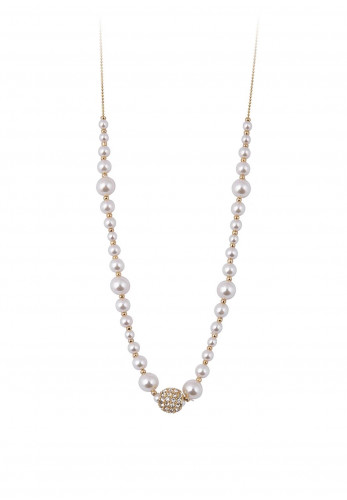 Knight & Day Agnelia Rhodium and Pearl Necklace, Gold