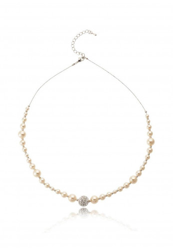 Knight & Day Agnelia Rhodium and Pearl Necklace, Silver