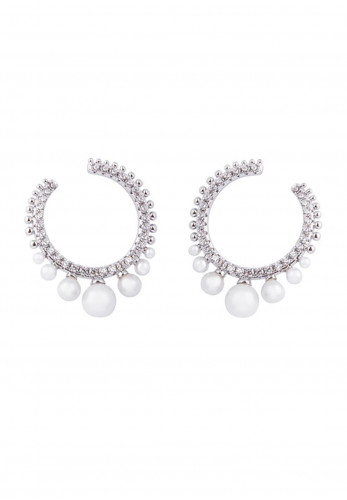 Knight & Day Carlotta Faux Pearl Front Facing Hoop Earrings, Silver