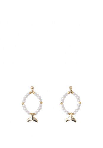 Knight & Day Noemi Faux Pearl Earrings with Fish Tail Charm, Gold