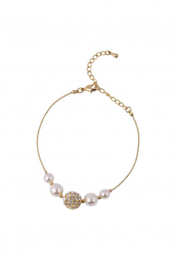 Knight & Day Paulette Rhodium & Pearl Bracelet, Gold