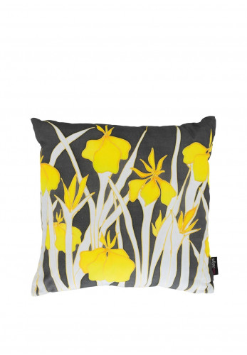 Koko Designs Yellow Iris Cotton Cushion, Yellow Multi