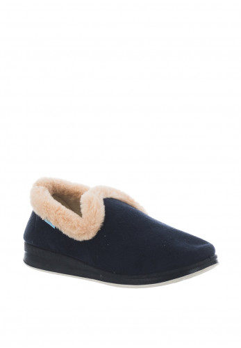 Kozitoze Rose Faux Fur Trim Slippers, Navy