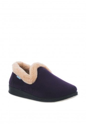 Kozitoze Rose Faux Fur Trim Slippers, Purple