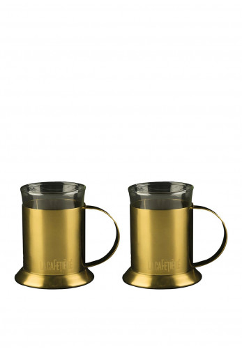 Edited by La Cafetiere 2 Gold Glass Cups