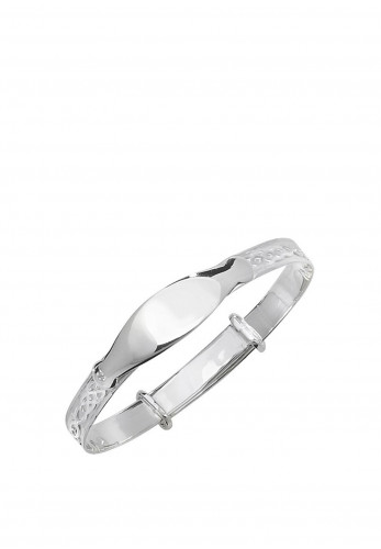 Kurate Baby ID Celtic Bangle, Silver