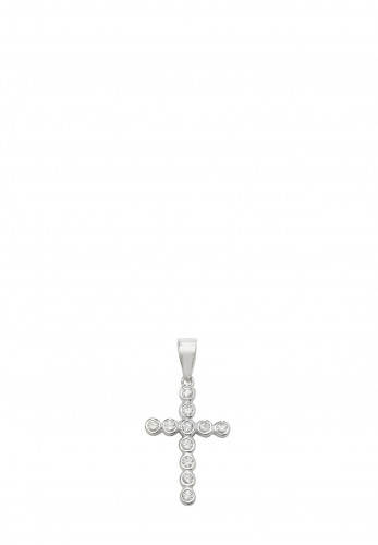 Sterling Silver Kids Diamante Holy Cross Necklace