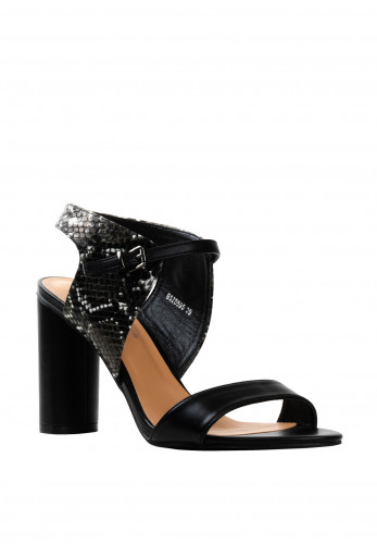 Zen Snake Print Block Heeled Sandals, Black
