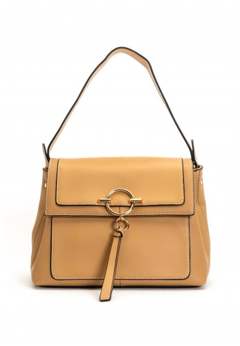 Zen Collection Flap Over Shoulder Bag, Beige