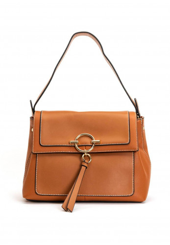 Zen Collection Flap Over Shoulder Bag, Camel