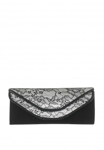 Glamour Faux Suede Lace Trim Clutch Bag, Black