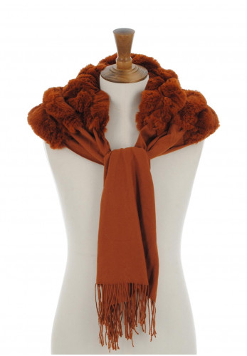 Alex Max Faux Fur Tassel Scarf, Brown