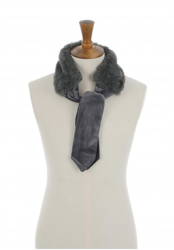 Alex Max Faux Fur Collar Tie, Grey