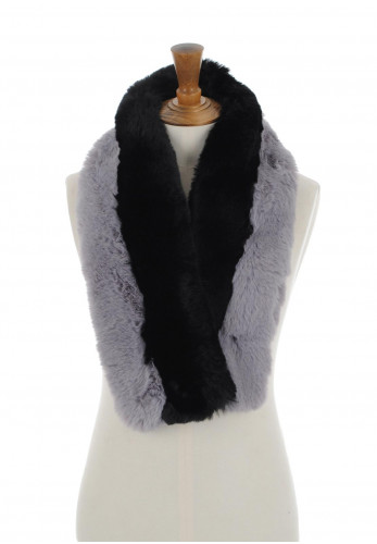 Alex Max Faux Fur Scarf, Black & Grey