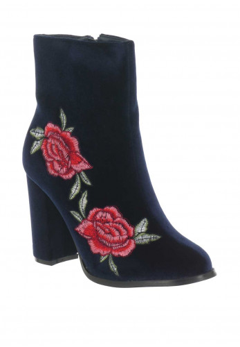 Millie & Co. Embroidered Velvet Heeled Boots, Navy