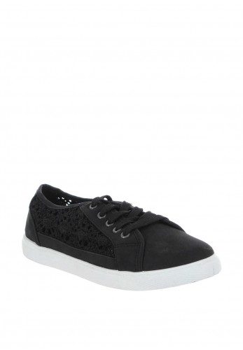 Zen Crochet Panel Trainers, Black