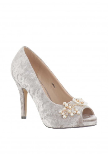 Lunar Ginny Peep Toe Velvet Heeled Shoes, Taupe