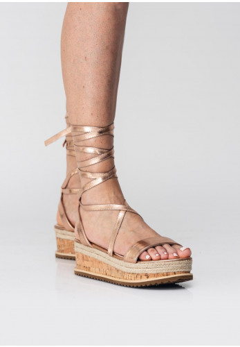 Zen Wrap Around Metallic Platform Sandals, Rose Gold