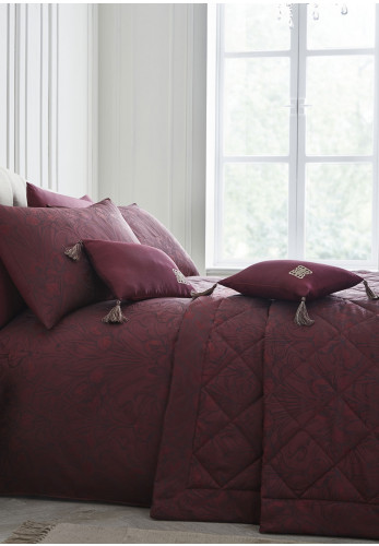 Laurence Llewelyn Bowen Sleeping Beauty Florian Bedspread, Claret