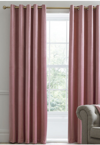 Laurence Llewelyn Bowen Montrose Eyelet Blackout Curtains, Blush