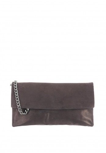 Le Babe Suede Shimmer Clutch Bag, Grey