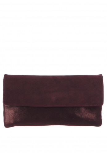 Le Babe Suede Clutch Bag, Plum
