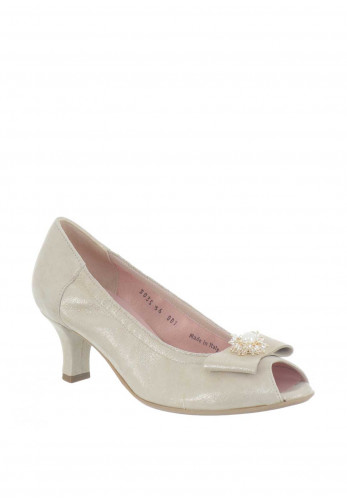 Le Babe Suede Bow Peep Toe Heeled Shoes, Champagne