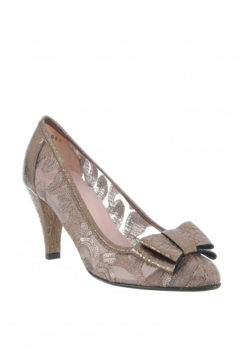 Le Babe Mesh Metallic Heeled Court Shoes, Bronze