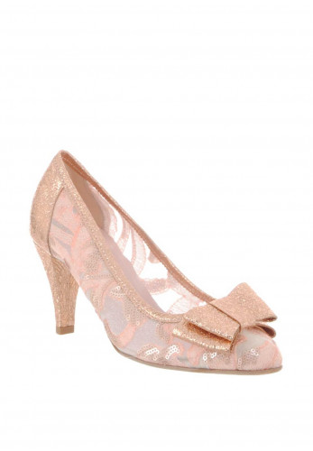 Le Babe Mesh Metallic Heeled Court Shoes, Pink