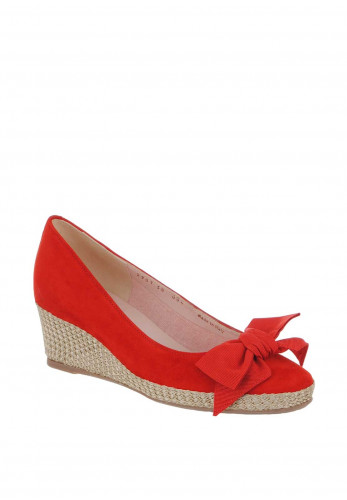 Le Babe Suede Bow Wedged Shoes, Red