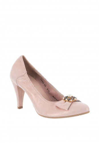 Le Babe Suede Shimmer Pearl Bow Court Shoes, Pink
