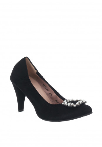 Le Babe Suede Shimmer Brooch High Heel Shoes, Black