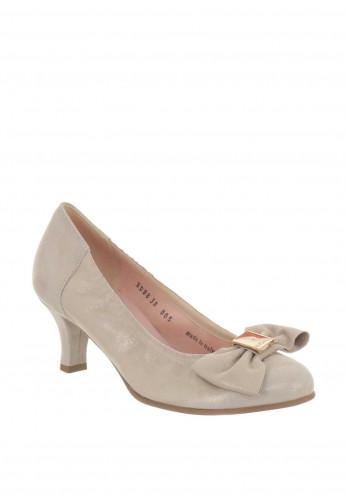 Le Babe Suede Bow Low Heeled Shoes, Champagne