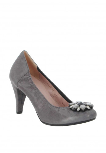Le Babe Suede Diamante Brooch Court Shoes, Grey