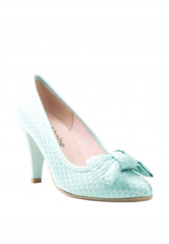 Le Babe Bow Textured Court Shoes, Light Green