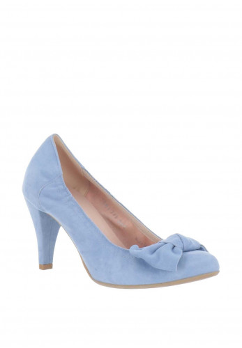Le Babe Suede Bow Court Shoes, Sky Blue