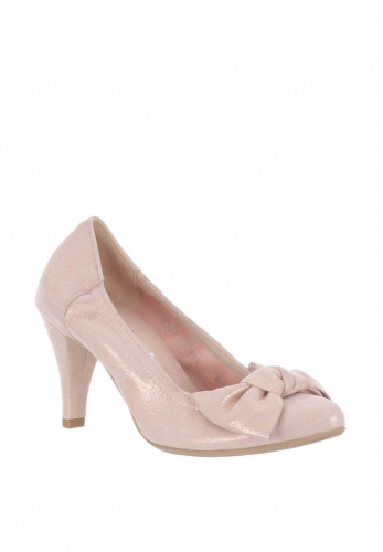 Le Babe Shimmering Suede Bow Court Shoes, Pink