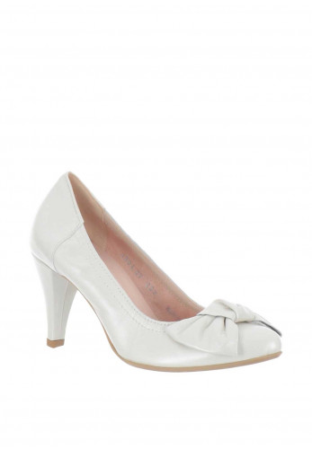 Le Babe Leather Bow Court Shoes, Ivory