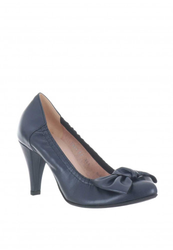 Le Babe Leather Bow Court Shoes, Navy