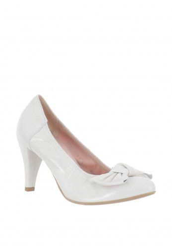 Le Babe Shimmering Suede Bow Court Shoes, Silver
