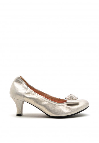 Le Babe Crystal Cluster Shimmer Mid Heel Shoes, Pearl