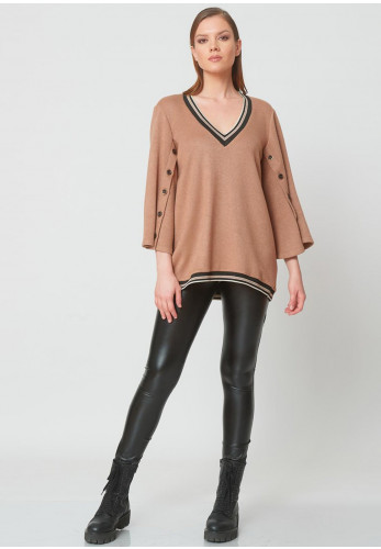 Camelot Buttoned Flared Sleeve Pullover, Taupe