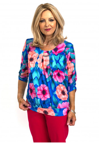 Leon Collection Colourful Floral Print Scooped Neckline Top, Blue Multi