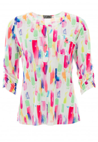 Leon Collection Brushed Button Blouse, Multi